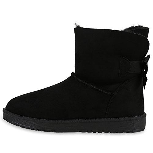 Warm Gefütterte Damen Stiefel Schlupfstiefel Boots Stiefeletten Schwarz Schleife