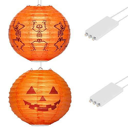 HENMI Papier Laternen Deko Kinder Papierlaterne LED Garten Papierlaterne Halloween Papierlaterne mit LED-Licht für Indoor und Outdoor Partys - (2 Pack)