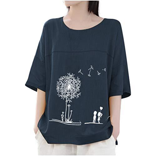 Kostüm Baby Big Blue - Damen Langarm Tunika Tops Löwenzahn Print Scoop Neck T Shirts Tropfen Schulter T Sweatshirt Loose Fit Damen Casual Active Bluse