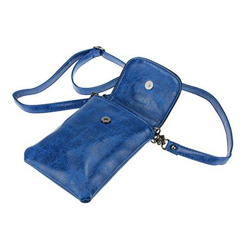FakeFace Damen PU Leder Schultertasche Umhängetasche Clutch Handtasche Henkeltasche mit Totenkopf Handytasche Handbag Crossbody Bag Geschenk für Damen Mädchen (Schwarz) Blau