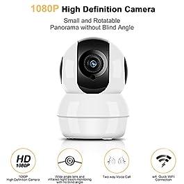 Hommie Telecamera di Sorveglianza Wireless 1080P HD IP Camera WiFi Bianco ? (1080P HD Nuova Versione)
