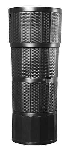 Modernes schwarz 150L Liter Rattan Effekt Designer-Regentonne mit passendem Ständer, umlenkventil, und Wasserhahn