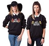 Best Friends Pullover für Zwei Mädchen Sister Freunde Hoodie Set für 2 Damen Kapuzenpullover Sweatshirt Pulli Freundin BFF Geschenke Schwarz Grau (Schwarz, M + M)