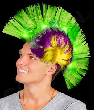 Fun Central AD154 LED Light Up Mohawk Wig - Green Yellow and Purple (Up Light Perücke)