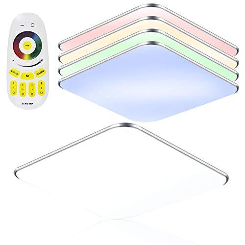 SAILUN 24W RGB Ultraplat LED Plafonnier moderne Lampe de couloir Cuisine de chambre à coucher Économie d'énergie lumière applique murale Couleur Argent (24W Argent RGB)