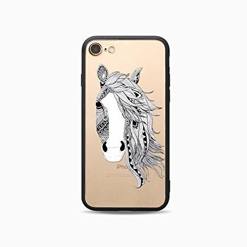 Coque iPhone 7 Plus Housse étui-Case Transparent Liquid Crystal Les animaux en TPU Silicone Clair,Protection Ultra Mince Premium,Coque Prime pour iPhone 7 Plus-Le loup-style 2 12