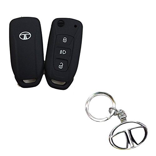 Cp Bigbasket Silicone Flip Key Cover For Tata Safari Storme / Zest / Bolt / Tiago / Zica With 1 Key Chain