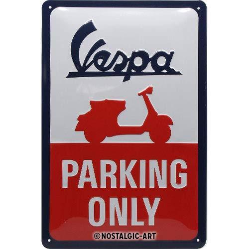 Nostalgic-Art 22282 - Vespa - Parking Only , Retro Blechschild , Vintage-Schild , Wand-Dekoration , Metall , 20x30 cm