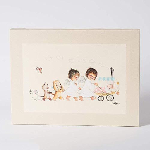 Cochecito con amigos agarrados 30x40cm. Ilustración de Juan Ferrándiz impresa en lienzo. Serie limitada y numerada. Regalo recien nacido y Bautizo