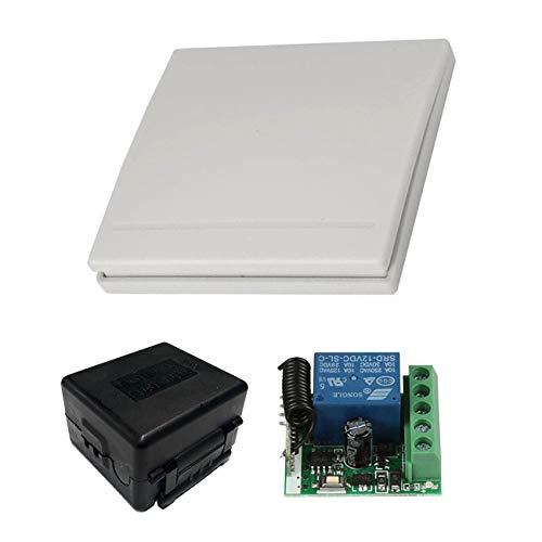 YLX Smart Home Universal 1CH DC 12V Wireless Remote Switch Mini Relay Receiver Transmitter Fernbedienung Schalter Modul und 1 Stück Wandschalter für 433 MHz RF Transmitter Garage -
