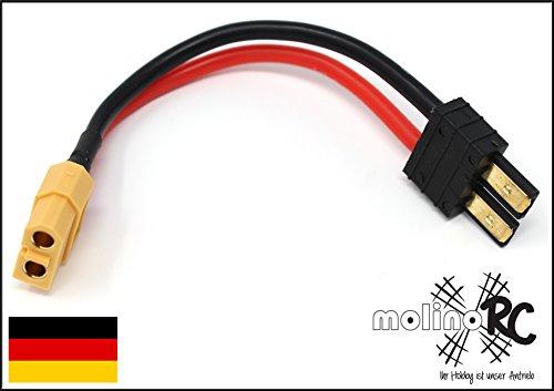 molinoRC Adapter XT60 Buchse (weiblich Female) auf TRX Stecker (männlich Male) kompartibel zu Traxxas, deutsche Marke | Versand aus BRD (Traxxas-stecker Für Ladegerät)