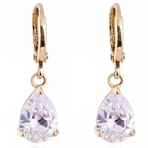 Donne semplice goccia orecchini pendenti in oro rame cristallo placcato nuovo