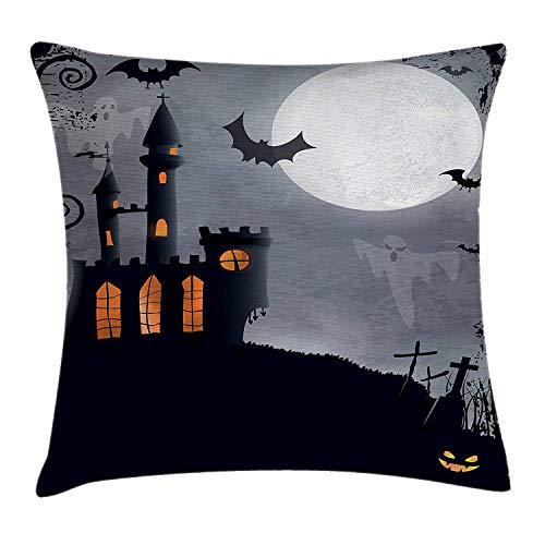 (WYICPLO Vintage Halloween Throw Pillow Cushion Cover, Halloween Themed Asymmetric Caste with Scary Bats and Ghosts Full Moon, Decorative Square Accent Pillow Case, 18 X 18 inches, Black Grey)