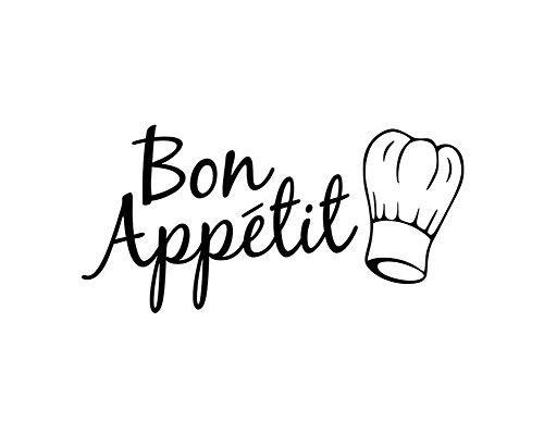 Cosanter Aufkleber Zitat Bon Appetit Esszimmer Deko Küche Abziehbilder Art Wandaufkleber Wandtattoo Wandsticker, 28 × 58 cm