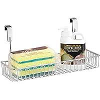 mDesign práctico mueble auxiliar cocina - Estante cocina colgante - Estanteria metalica en color plateado para sus utensilios
