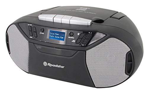 Roadstar RCR-777UD+ DAB Digitalradio mit CD-Player, Kassette und USB, Batteriebetrieb möglich (DAB, DAB+, UKW-Tuner, RDS, MP3-Wiedergabe, Kopfhöreranschluss, AUX), schwarz