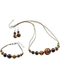 Stunning Tiger Eye Gemstone With Cotton Cord: Necklace, Bracelet and Earring Set