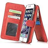 "Rojo Multi-function Wallet Funda de Cuero para Apple iPhone 6 Plus / 6S Plus 5.5"",Yihya 2 in 1 Detachable Leather Folio Flip Wallet Stand Cover Carcasa con Card Slots + Stylus Pen--Red"