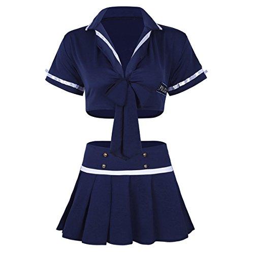olizistin Kostüm Set Zweiteilig Crop Top und Minirock Cosplay Dessous Uniform Set Reizwäsche Outfits Verkleidung Einheitgröße (One Size, Blau) ()