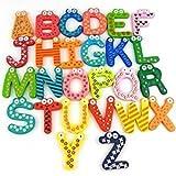 Jef Colorful Wooden A-Z Alphabet Letters Fridge Magnets Magnetic Stickers (Set of 26)