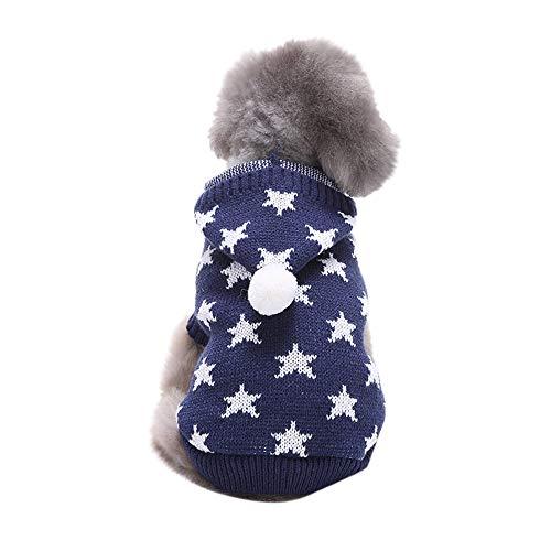 (Dragon868 Pet Dog Cat Winter Warm Pentagram Hooded Sweater Coat Kostüm Bekleidung)