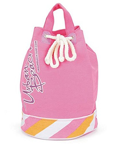 Large Canvas Drawstring Top, Beach Accessory Duffle Style Holiday Swimming Bag Pink