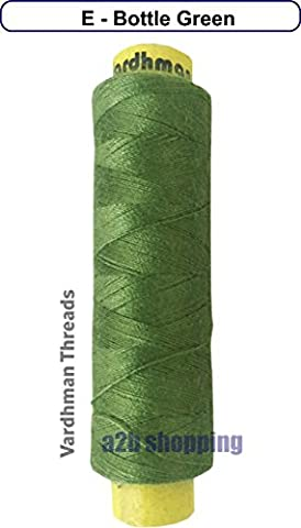 SINGLE COLOUR - Sewing Thread Poly Hammer Reel Spool Quality Yarn (E - Bottle Green)