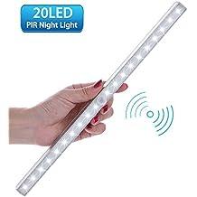 Motion Sensor cabinet Light, Lofter wireless PIR Motion attivato 20LED a batteria corridoio Stairway scale garage cassetti, armadi, cucina sotto bancone armadietto da parete a LED luci notturne