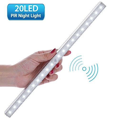 Lofter luce wireless a 20 led con sensore, alimentata a batterie (non incluse), 3 modalità, luce notte per armadio,comodino,corridoio (incluse 4 viti)