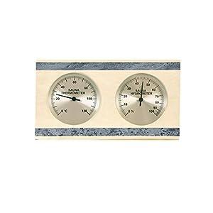 Well Solutions Saunathermometer + Saunahygrometer Espe mit Speckstein, getrennte Anzeige