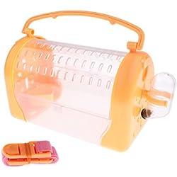 Sharplace Boîte de Transport de Petits Animaux Cage Couchage de Hamster Furet Lapin Cobaye Rat Souris - Orange