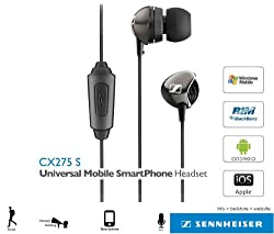 Sennheiser CX 275s Universal Wired Earphone Headset for iPhone, Android, BlackBerry, Windows Smart Phones with Integrated Microphone and Pouch - Black