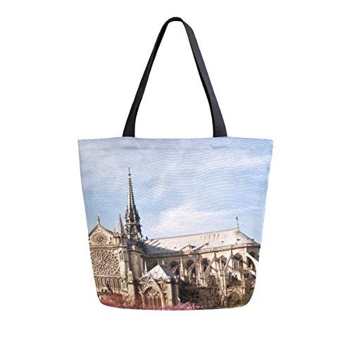 Alte Notre Dame De Paris Tragbare Große Doppelseitige Casual Leinwand Tragetaschen Handtasche Schulter Wiederverwendbare Einkaufstaschen Reisetasche Für Frauen Männer Lebensmittelgeschäft Reise -