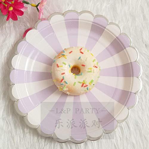 ler Kuchen Pappteller Dicke Farbe Platte Picknick Party Geschirr -8_Pcs_9 Zoll lila Silber Seitenplatte ()