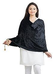 Anekaant Black Solid Velvet Shawl (65X200 cm)