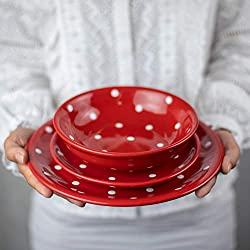citytocottage.co.uk Juego de vajilla de cerámica Pintada a Mano en Blanco y Rojo para 4 Platos de Cena, Platos Laterales, Cuencos y vajilla