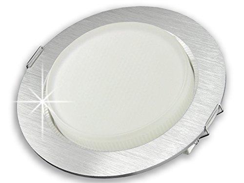 LED Einbau-Strahler flach nur 25mm, Einbau-Leuchte RX-3 rund 230V Alu gebürstet mit GX53 LED-Leuchtmittel 3,5W 15SMD LEDs warm-weiss 3000K
