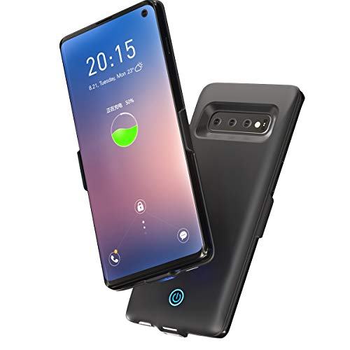 BasicStock Samsung Galaxy S10 Akku Hülle, 5500mAh [Anti-Rutsch] Externe Akku Batterie Akkuhülle Backup Powerbank Schutzhülle Ladegerät Hülle Battery Case für Samsung Galaxy S10 (Schwarz)