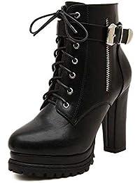 4f48bfc852d Botas De Tobillo De Mujer Sexy Bloque De Tacón Alto Plataforma Hebilla De  Cordones Botas Occidentales Zapatos Tacón Grueso…