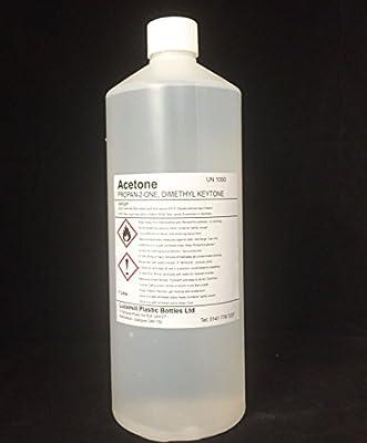 1 x 1 LITRE (L) PURE 99.8% ACETONE Nail Polish Gel Remover w/ White Watertight Screw Lid