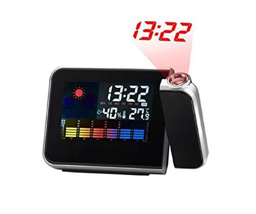 T2O Digitaler lauter Wecker mit Projektion - iMeUpp® Heavy Sleeper LCD Display Temperaturkalender Wetterstation AC & batteriebetrieben - in Schwarz - Zurück Sleeper