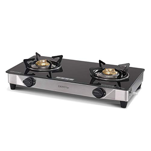 USHA Ebony Neo GS 2003 SS 2 Burner Cooktop (Black)