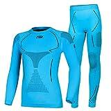Prosske Kinder Seamless Funktionsunterwäsche Thermo Xtreme 2.0 Set Thermounterwäsche Skiunterwäsche Atmungsaktiv (blau-schwarz, 140-158 cm)
