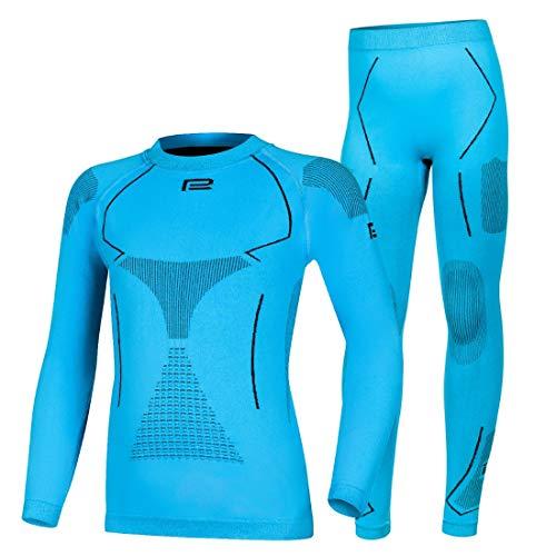 Prosske Kinder Seamless Funktionsunterwäsche Thermo Xtreme 2.0 Set Thermounterwäsche Skiunterwäsche Atmungsaktiv Jungen Mädchen (blau-schwarz, 164-176 cm)