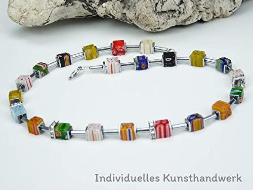Handgemachte Murano Glas Perlen Würfel Kette und Edelstahl Verschluss, Edelsteinkette, Unikat -