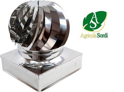 Mistermoby aspiratore aspiratore girevole eolico in acciaio inox aspira fumo e fumi comignolo dimensioni 42x42 centimetri