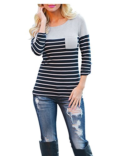 Blooming Jelly Femmes Top Nervuré Stripe Manches 3/4 Patchwork Splice Pocket Casual Manches Ras Du Cou Cuffed T-shirt Chemisier Tee Noir