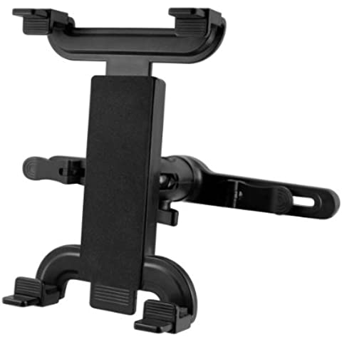 kwmobile El soporte reposacabezas para Tablet PC negro - Coche reposacabezas soporte para tablet - compatible por ej. con Apple, Samsung, Lenovo, Asus, Huawei, Amazon, Acer, Microsoft, Sony,