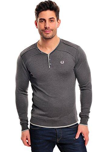 Longsleeve dünner Männer Pullover Sweatshirt Feinstrickpullover m VNeck von  CeCe Fashion SLIMFIT Anthrazit