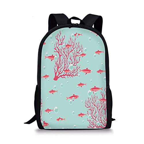 School Bags Coral,Aquatic Pattern with Little Cute Fishes and Coral Reef Bubbles Water,Coral Dark Coral Baby Blue for Boys&Girls Mens Sport Daypack -